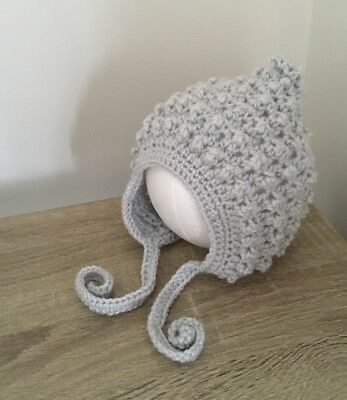 Newborn  To 3months Hand Knitted  , Crochet Baby Beanie/ Hat Pixie Bonnet