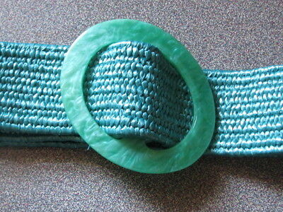 2959 Green Woven Stretch Belt with Slide Buckle, S/M