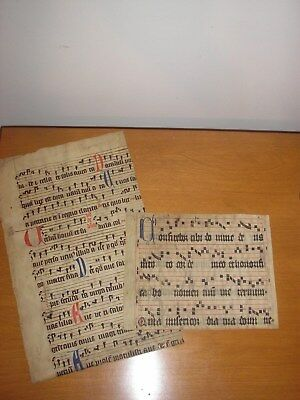 Two Medieval Music Manuscript Fragments 14th 15th century
