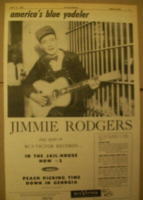 Jimmie Rodgers 1955 Ad- In The Jailhouse Now #2 RCA Victor blue Yodeler