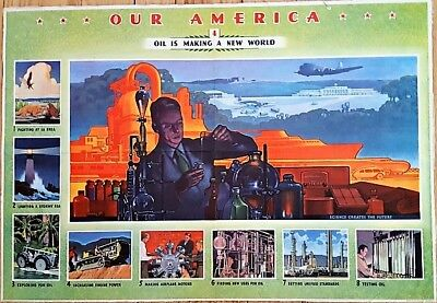 1942 #4 Coca Cola Our America Series OIL IS MAKING A NEW WORLD 1913 Copyright NR