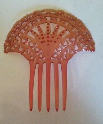 """Large Vintage Hair Comb with Tiny Red Rhinestones, 6"""" Long, 5-1/4"""" Wide"""