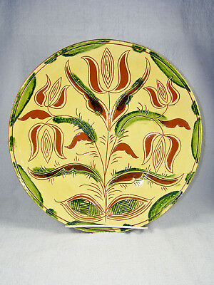 """2009 Breininger Sgraffito Redware 12-1/2"""" Charger / Plate - TULIPS"""
