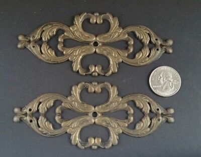 """2 Salvaged Antique French Ornate Brass Large Back Plates Decorative 4 3/4""""w #Z45"""