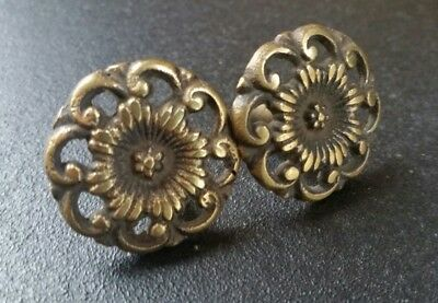 """2 Antique Style  Solid Brass  ROUND KNOBS Ornate FLORAL 1-1/4"""" dia. #Z17"""