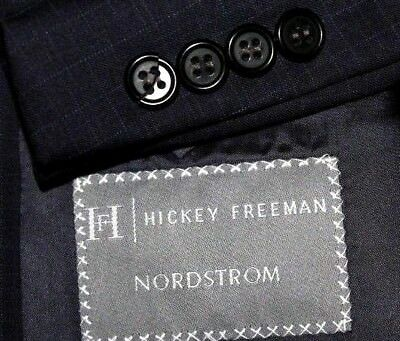 HICKEY FREEMAN Worsted Wool Blazer 46L Navy with Gray & Blue Checks Made USA