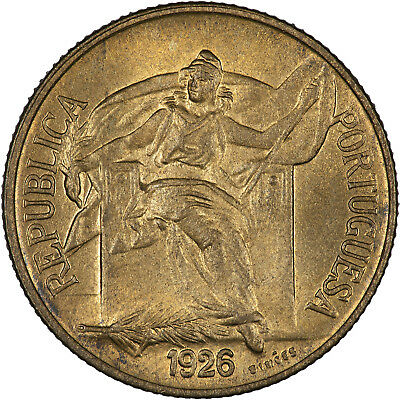Portugal 1926 50 Centavos LUSTROUS UNC, HIGH GRADE FOR THIS SCARCE TYPE!