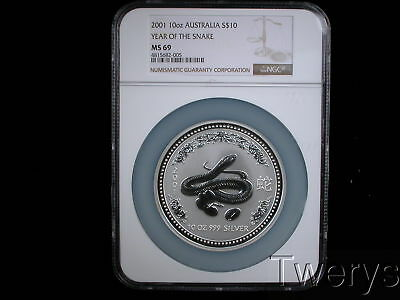2001 AUSTRALIA PERTH MINT SILVER 10Oz LUNAR SERIES 1 YEAR OF THE SNAKE NGC MS 69