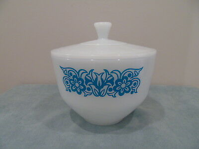 Federal Glass Oven Ware 1 1/2 Quart Lidded Bowl Turquoise Floral Trim