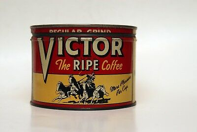 Vintage Victor Coffee Tin with Lid