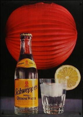 SCHWEPPES Vintage 1968 Swiss advertising poster 36x51 RARE NM