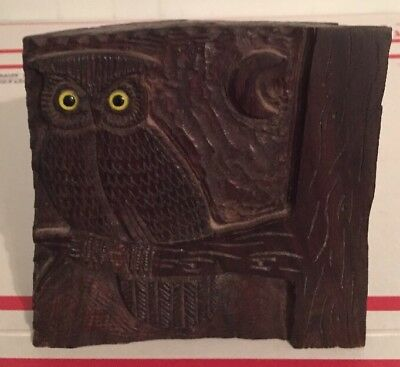 Vintage Wood tree Stump Hand Carved Owl WOOD Carvings Owl Statue Rustic