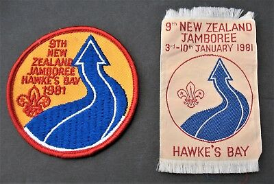 Boy Scouts (2) Vintage 9Th New Zealand Jamboree 1981 Hawke's Bay Patches Badges