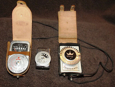 LOT OF 3 VINTAGE LIGHT EXPOSURE METERS Argus LC3 / Savoy / Elite
