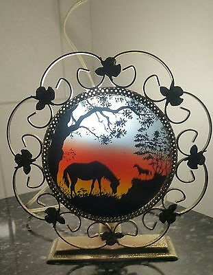 EARLY1970's VINTAGE SHADOW SILHOUETTE NIGHT LIGHT, WITH HORSES & TREES.