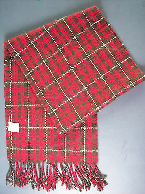 Gymboree Long Winter Scarf Merry Occasions 52 x 10 Red Brown White Plaid Fringes
