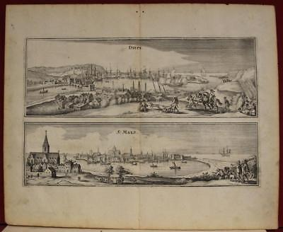 Saint-Malo & Dieppe France 1655 Merian Unusual Antique Copper Engraved City View