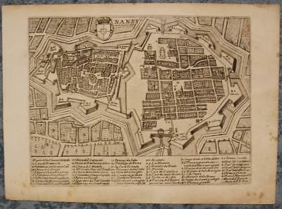 NANCY FRANCE 17th CENTURY ANONYMOUS UNUSUAL ANTIQUE COPPER ENGRAVED CITY VIEW