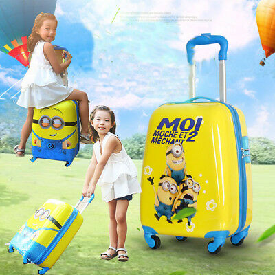 Kids Character Hard Shell Travel Suitcase Cabin Holiday 4-Wheel Luggage Travel
