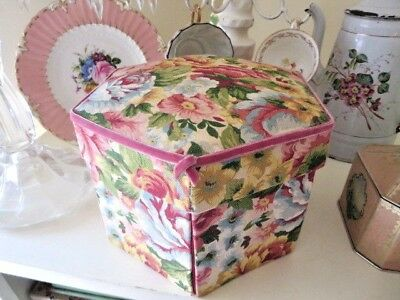 Gorgeous Vintage Hand Made Sewing Basket STUNNING Roses Fabric