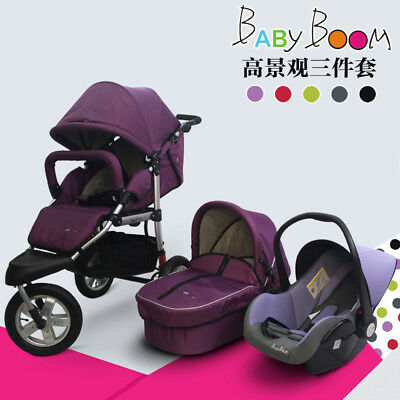 Luxury Baby Stroller 3 in 1 Jogger Travel System Stroller with Infant & Car Seat