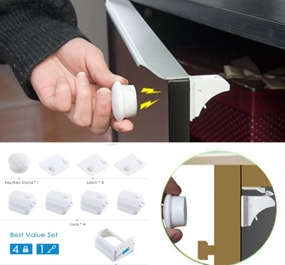 10PCS Invisible Baby Safety Magnetic Cabinet Lock Child Proof Cupboards Drawers