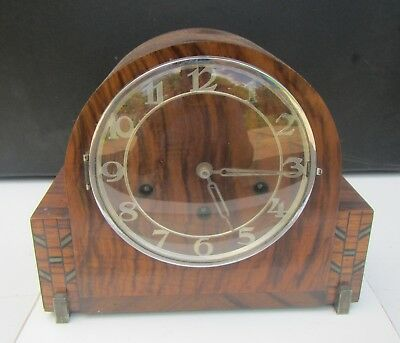 Old Art Deco Walnut Cased HALLER Chiming Mantel Clock - for spares or repair
