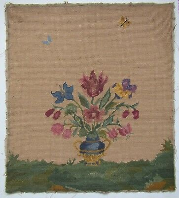 Old Embroidered Needlepoint Tapestry from Fire Screen