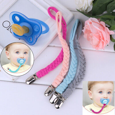 4Pcs Baby Infant Braided Pacifier Holder Clip Nipple Strap with Metal Clip Loop