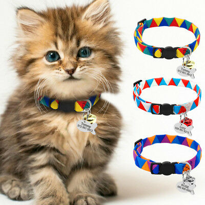 Personalised Pet Kitten Cat Breakaway Collar Tag Safety Quick Release with Bell
