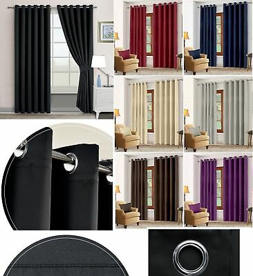 Ready Made Thermal Blackout Pair Of Curtains Eyelet Ring Top With Free Tie Backs