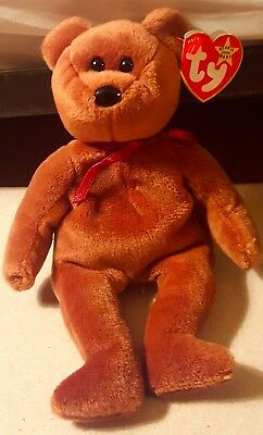 Rare Retired TY Beanie Baby New Face Teddy With Tag Errors MWMT
