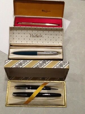 3 Vintage Pens Fountain Parker Niro Platinum Original Boxes