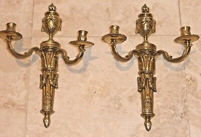 Pair Of Italian Signed Bronze Candle Holder Wall Sconces