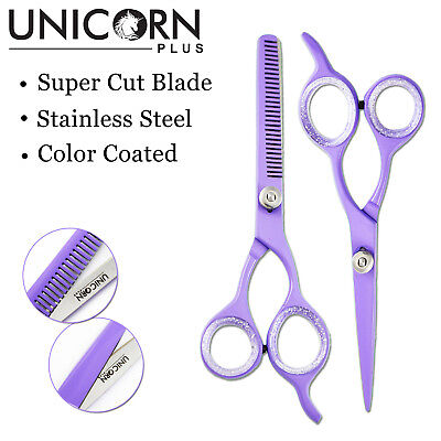Unicorn® Professional Purple Hairdressing Thinning Barber Scissors Set 5.5 Inch