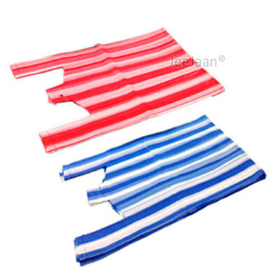 Vest Stripe Plastic Carrier Bags Red And Blue Shop Takeaway [All Sizes]