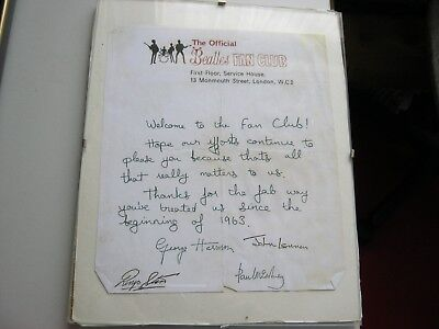 Letter From The Beatles Fan Club & Signed By The Beatles ( Probably Facsimile )