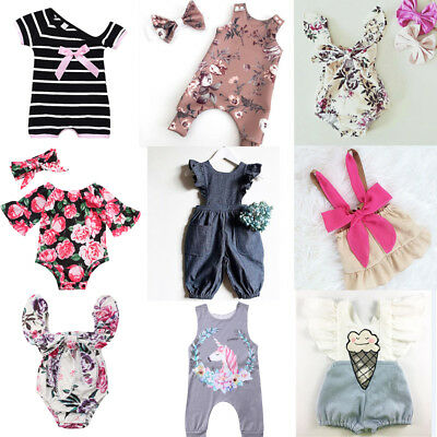 US Newborn Baby Kids Girls Ruffle Romper Jumpsuit Bodysuit Clothes Outfit Summer