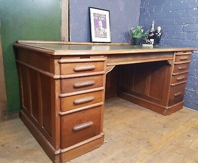 Huge Victorian Mahogany Panelled Antique Desk by Indianapolis Cabinet Company