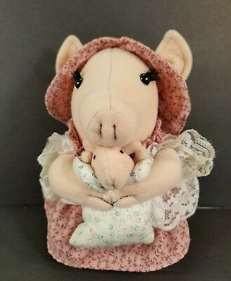"Vintage Russ Berrie 1984 Betty Kane Mama Pig & Baby Plush 7"" Stuffed Animal Toy"