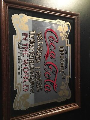 Coca Cola Mirror Sign Vintage Relieves Fatigue Coke Framed 8.5 X 6.5 ADVERTISING