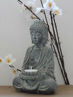 Sitting Buddha Tealight Candle Holder Ornament Statue Stone Effect Home / Garden