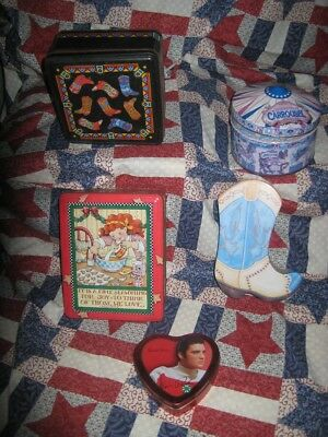 Lot 5  Vintage Collectible Metal Tins ~ Cowboy Boot, Hershey Park, Elvis, Xmas