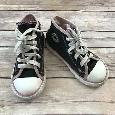 CONVERSE Girls Size 8 Toddler Black Pink Chuck Taylors High Top Sneakers Shoes