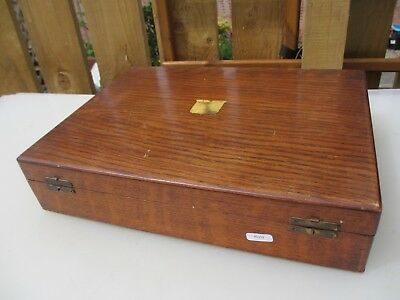 Antique Wooden Cutlery Tray Canteen Box Storage Felted Compartments Vintage Old