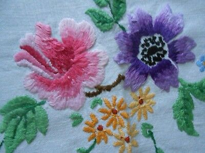Stunning Vintage Linen Hand Embroidered Tablecloth