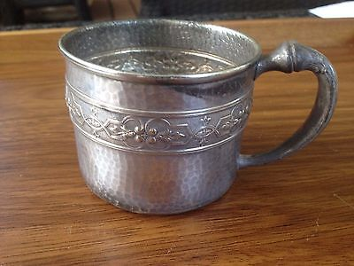 Benedict Silverplate Hammered Repousse MUG CUP Silver USA