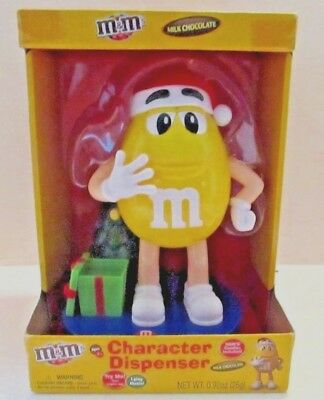 M&M Dispenser Yellow Christmas Plays Music and Lights Up Candy Dispenser