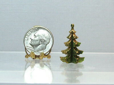 "Dollhouse Miniature 3/4"" Tall Green & Gold Wood Tree by Silvia Leiner of Germany"