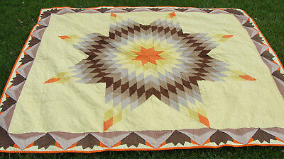 """1930s cotton Lone Star all hand quilted quilt, uncommon border, 94"""" x 84""""  *"""